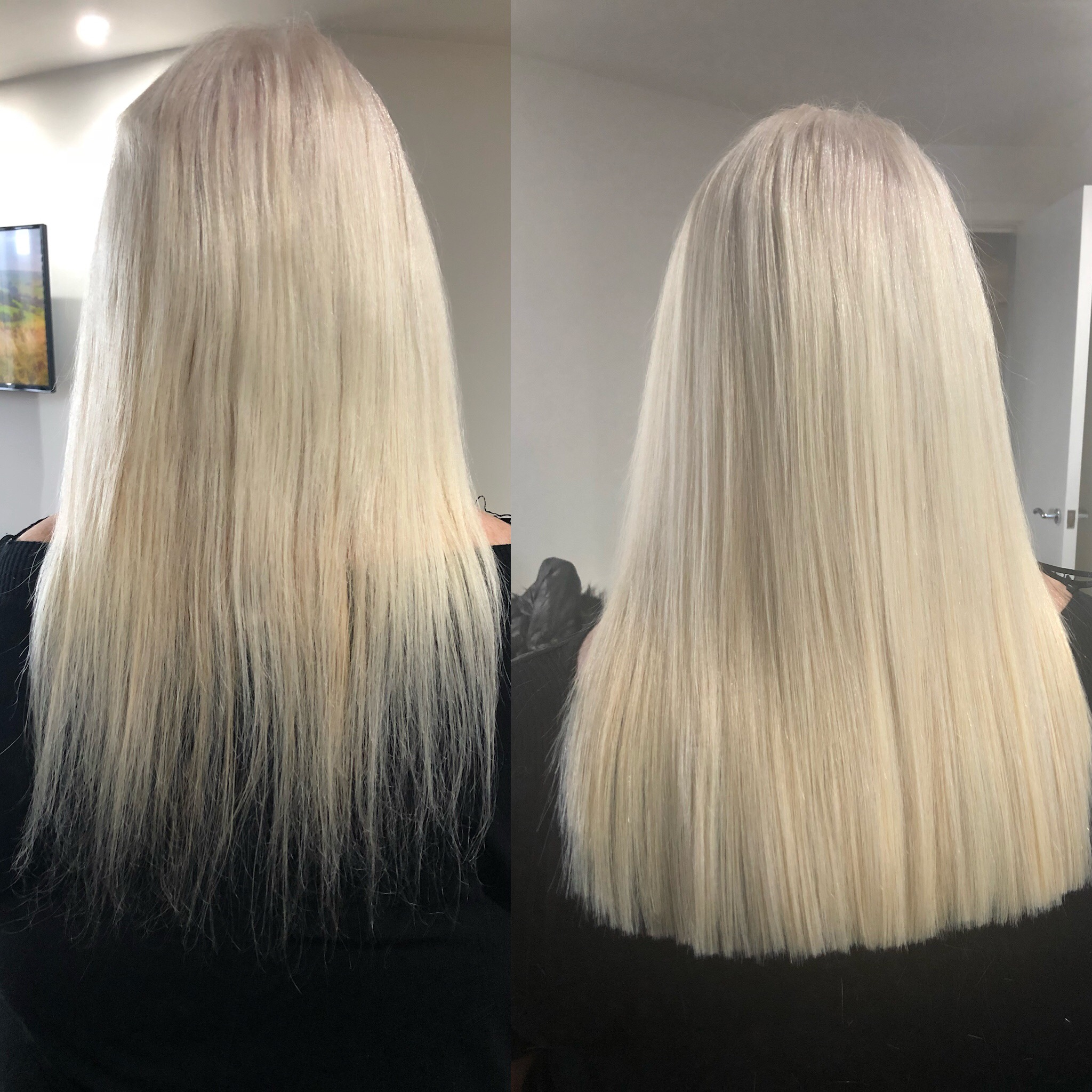 before and after hair extensions mini tips