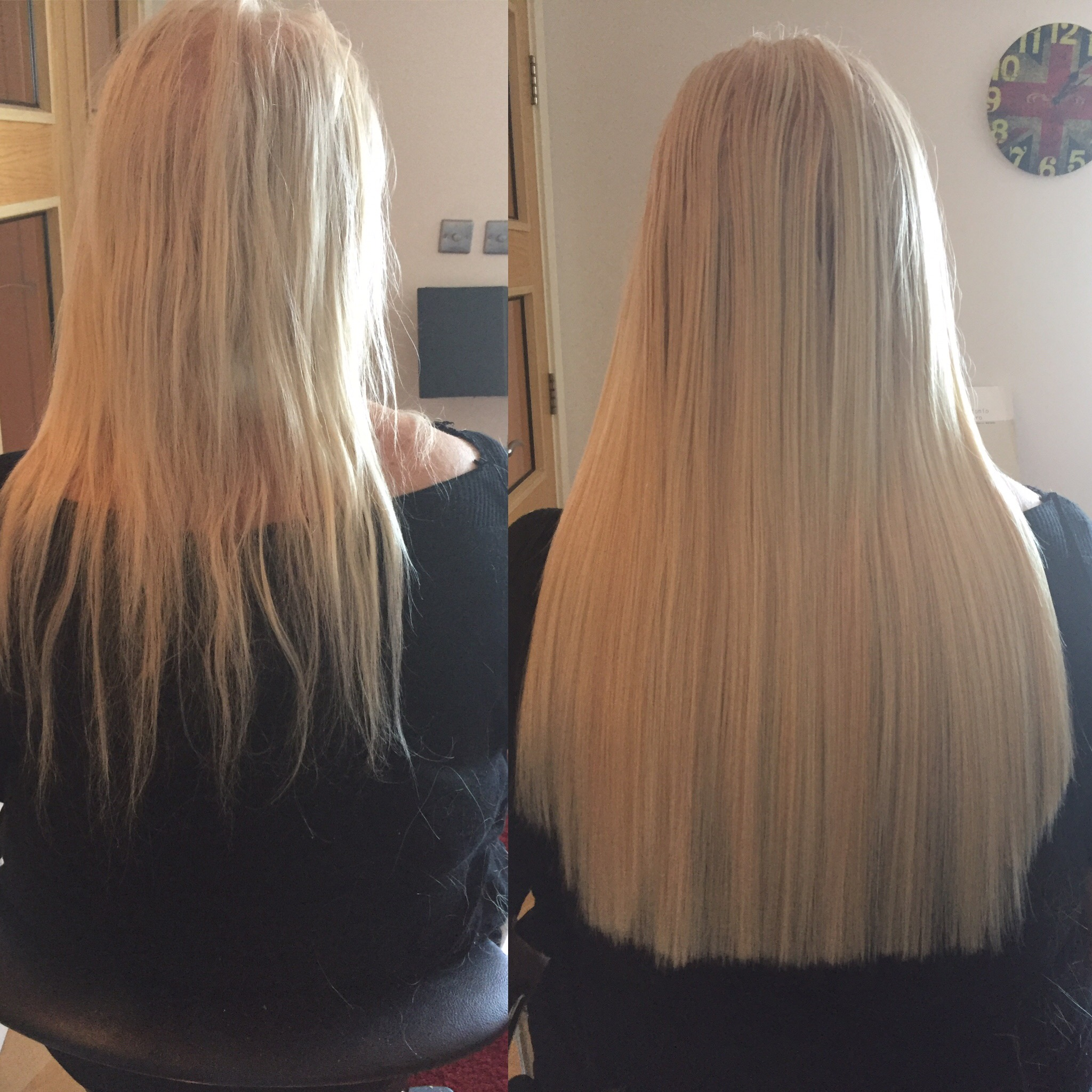 before and after picture tape hair extensions